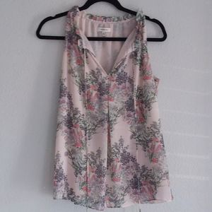 Max studio pink floral sleeveless blouse size -S